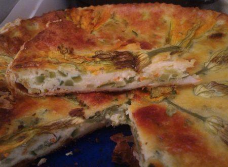 Torta salata di fiori di zucca e zucchine